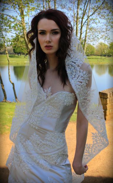 beaded lace edged Veil