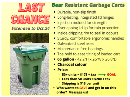 Bear Resistant Garbage Carts for Purchase.