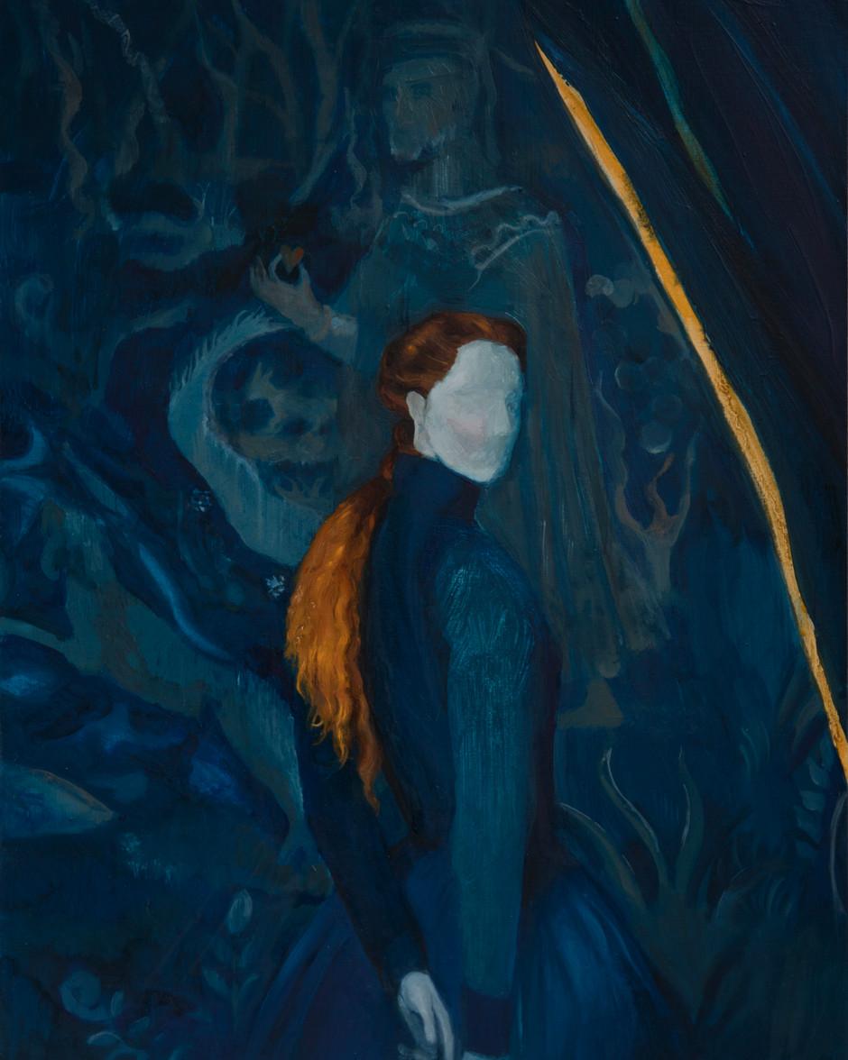 Regina di Cuori (Queen of Hearts), 2021, oil on mdf board, 37x30 cm