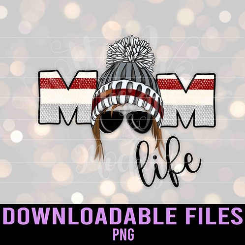 Mom Life Wood Sock Toque PNG -  Downloadable File