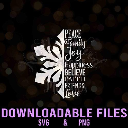 Snowflake Word Art - Downloadable Design File