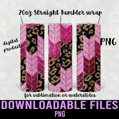 Pink Leopard Tangram Tumbler wrap for sublimation - Downloadab