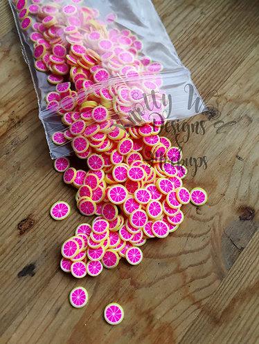 10 gram bag Clay pink grapefruit fruit slices 5mm