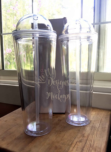 PRE-ORDER - 24oz Double wall Clear Dome Lid Tumbler