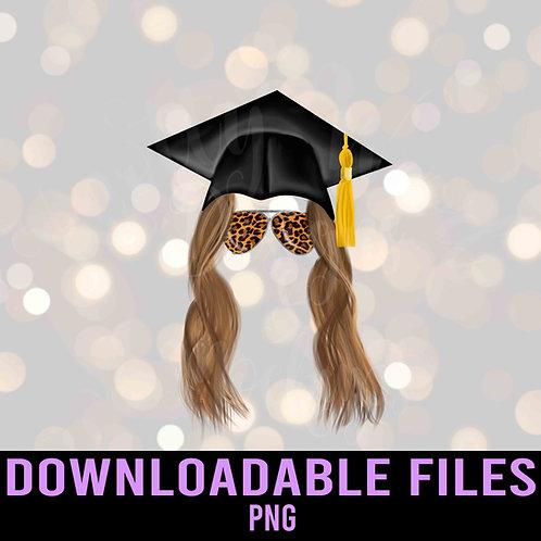 Grad Girl Leopard glasses - Graduation PNG - Downloadable Files