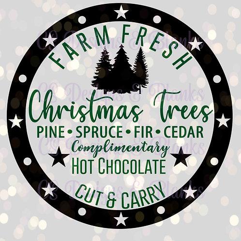 Farm Fresh Christmas Trees Circle - SVG Downloadable Design File
