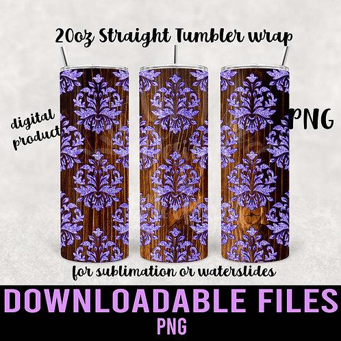 Woodgrain Damask Tumbler wrap for sublimation - Downloadable
