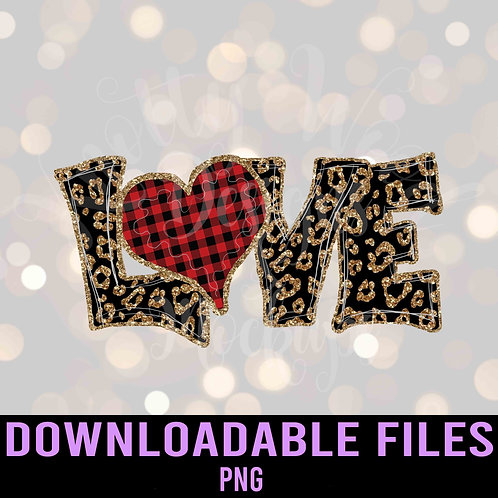 Leopard Love buffalo plaid heart PNG - Downloadable File
