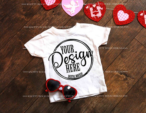 White Toddler Gildan T-shirt Valentine Mockup Download