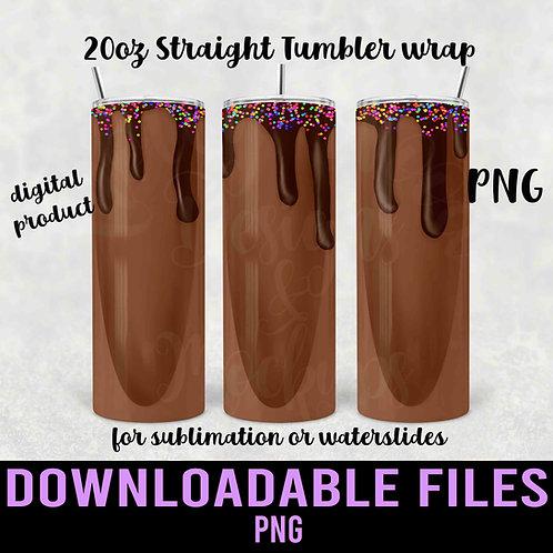 Chocolate Milkshake Tumbler wrap for sublimation - Downloadable