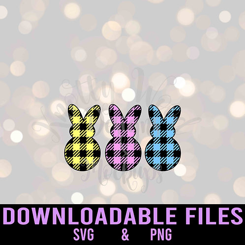Plaid Easter Bunnies SVG  - Downloadable File