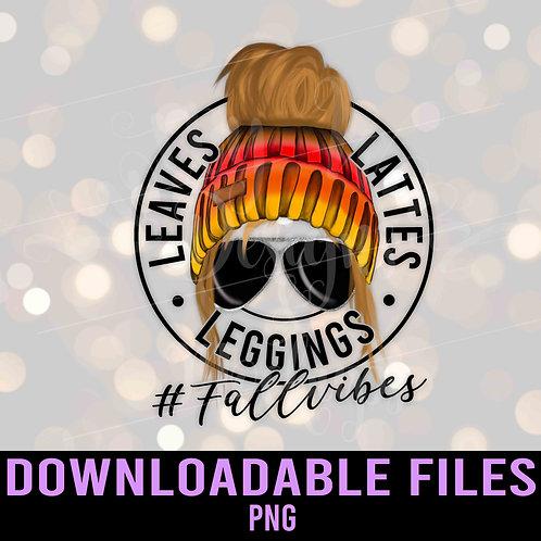 Leggings Leaves Lattes PNG - Fall vibes - Downloadable File