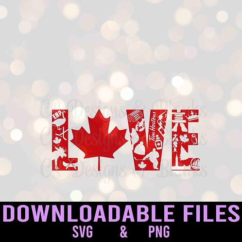 Canada Love Word Art - Downloadable File