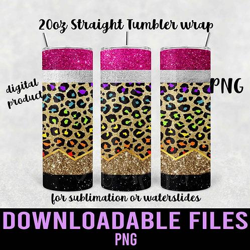 Rainbow Leopard Glitter Pencil Tumbler wrap for sublimation - Downloadable File
