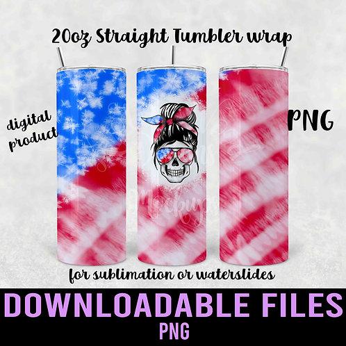 US skull mom bun Tumbler wrap for sublimation - Downloadable