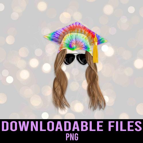 Grad tie dye cap sublimation - Graduation PNG - Downloadable