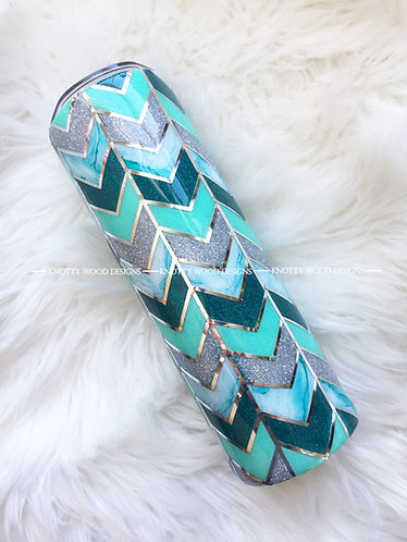 Teal & Silver Tangram Glitter Tumbler - 30 oz skinny with straw