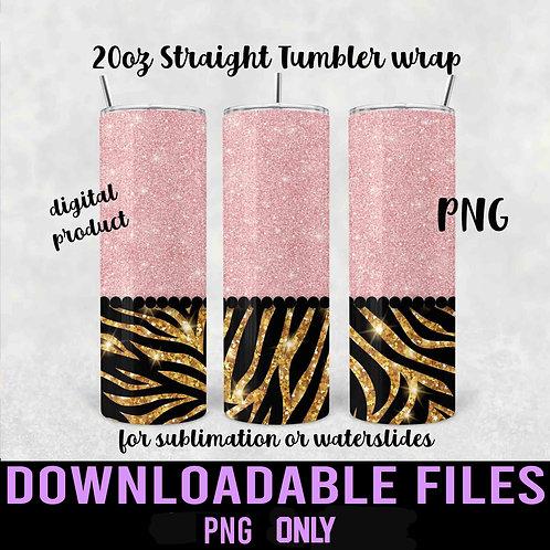 Zebra Pink Tumbler wrap for sublimation - Downloadable File
