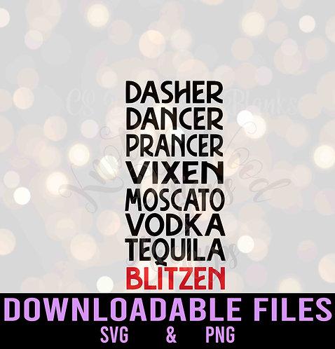 Drunk Reindeer Names Blitzen - Downloadable Design File