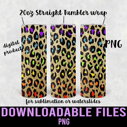 Gold & Rainbow Leopard Pencil Tumbler wrap for sublimation PNG - Downloadable