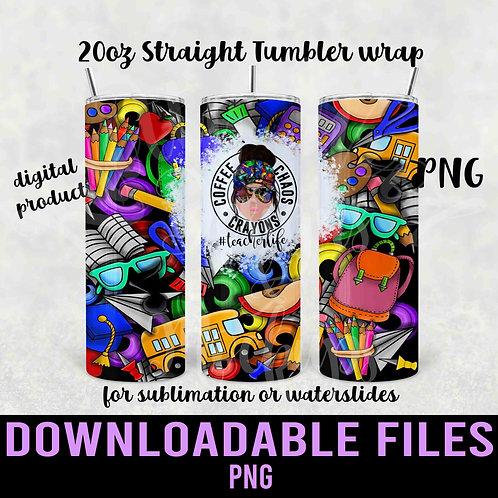 Teacher Life Tumbler wrap for sublimation - Downloadable