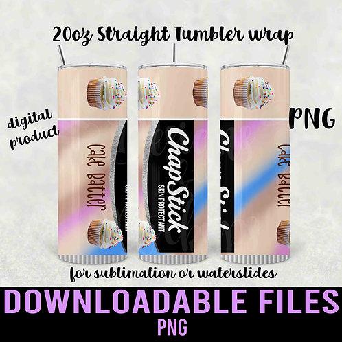 Cake Batter Chapstick  Clear Tumbler wrap for sublimation - Downloadabl
