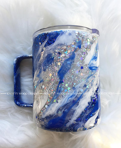 Blue Milky Way Tumbler - 14 oz stainless steel with handle