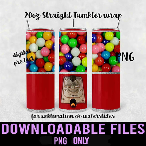 Gumball Machine Tumbler wrap for sublimation - Downloadable File