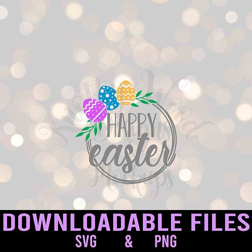 Happy Easter Wreath SVG  - Downloadable File