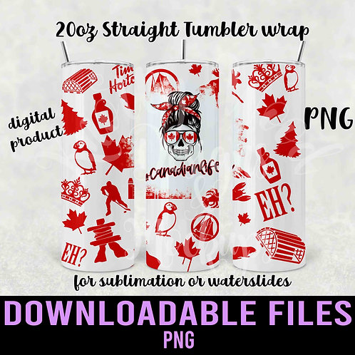 Canadian Life Tumbler wrap for sublimation - Downloadable