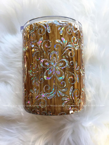 Wood Grain Floral Glitter Tumbler - 14 oz stainless steel with handle