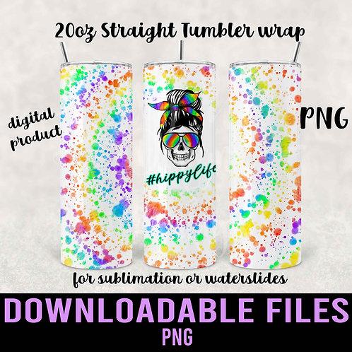 Hippy Life Tie-Dye Tumbler wrap for sublimation - Downloadable