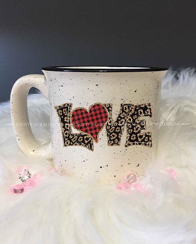 Leopard love  - speckled ceramic coffee mug - 13 oz