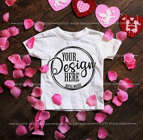 White Toddler Gildan T-shirt Valentine Mockup Download