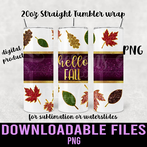 Hello Fall Tumbler wrap for sublimation - Downloadable