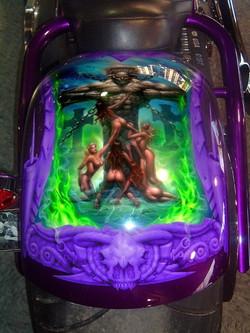 fantasy mural on chopper fender