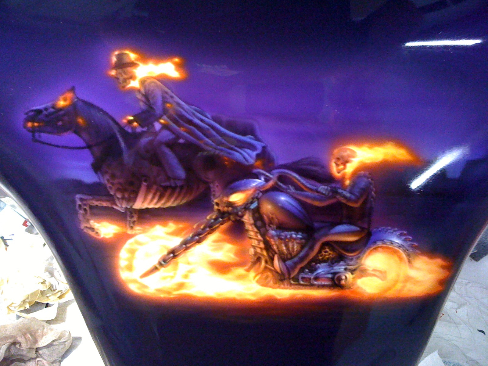 ghost rider mural on mc fairing