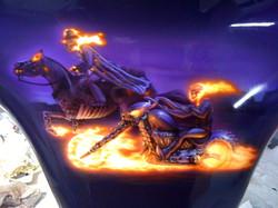 ghost rider mural on mc fairing