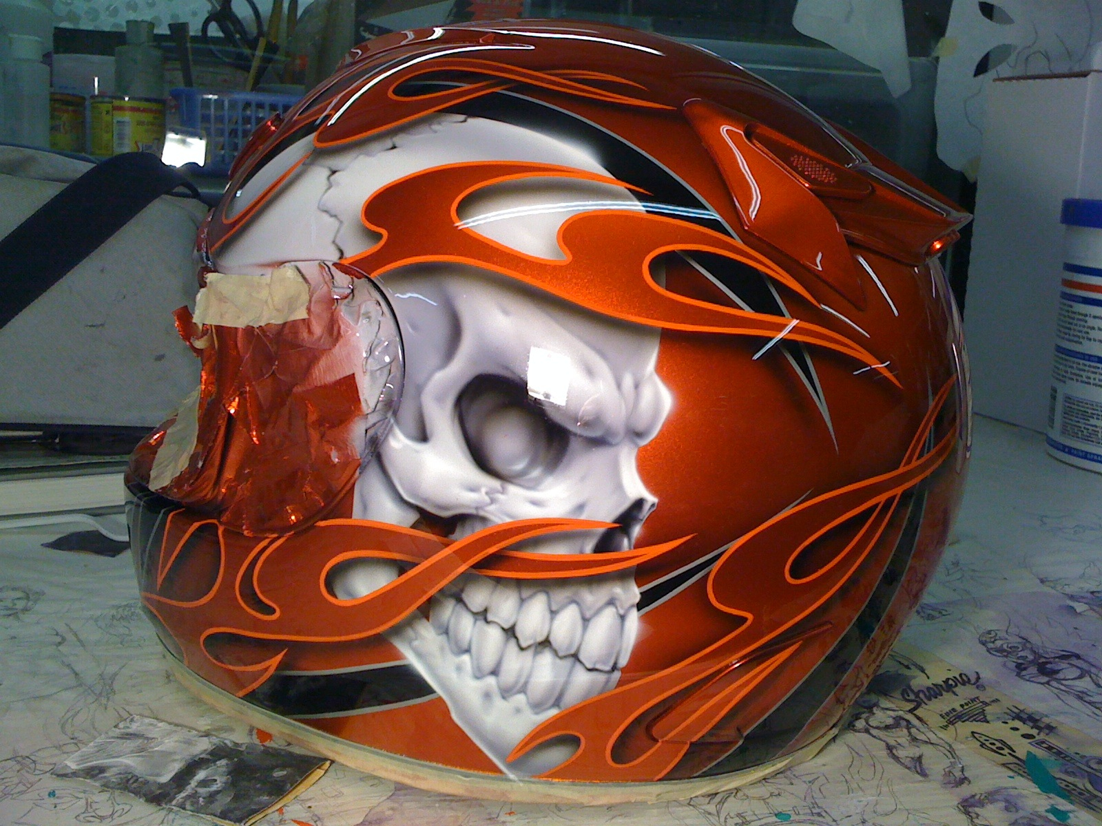 skull and flames on helmet