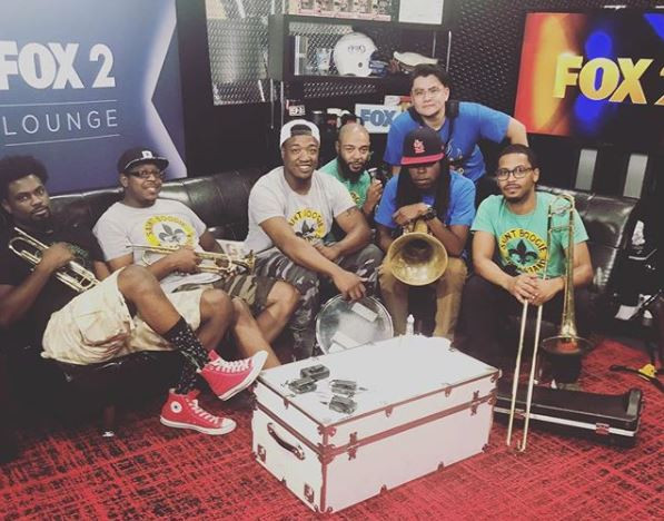 Saint Boogie Brass Band in the Fox 2 News Lounge