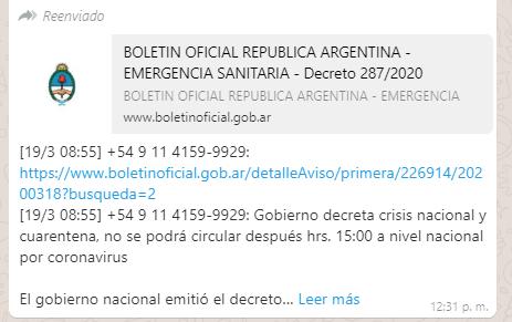 Investigan distribución de un falso decreto de cuarentena que circuló en redes y Whatsapp