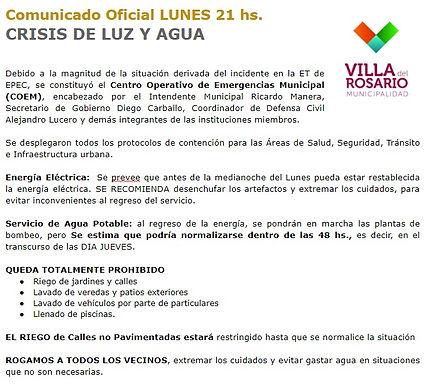 Crisis de luz y agua en Villa del Rosario