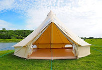 bell tent by river glamping chichester