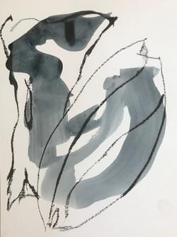 FRAGMENTE 1 | Graphitkreide / Tusche-Lavur, 32 x 24 cm | 2021