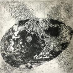 Ulla von Gemmingen, Weltei, Ätzradierung, 40 x 40 cm, 2020, 295 Eur