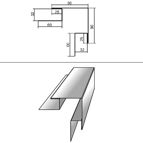 Сложный наружный угол СНУ-БХ-32 окраш PRINTECH