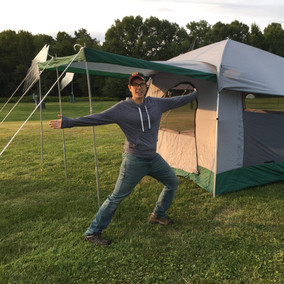 Camping at a friend's wedding