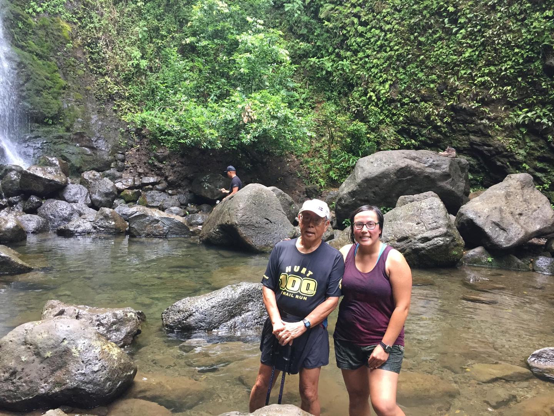 A waterfall hike in HI with Grandpa