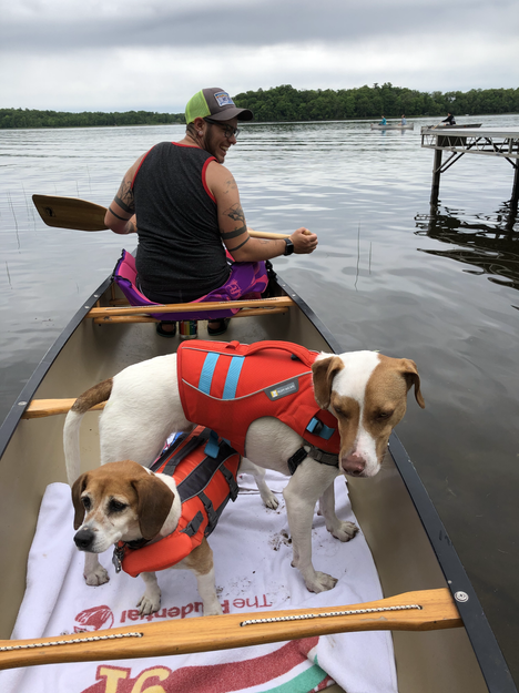 Canoeing with the pups at the family cabin