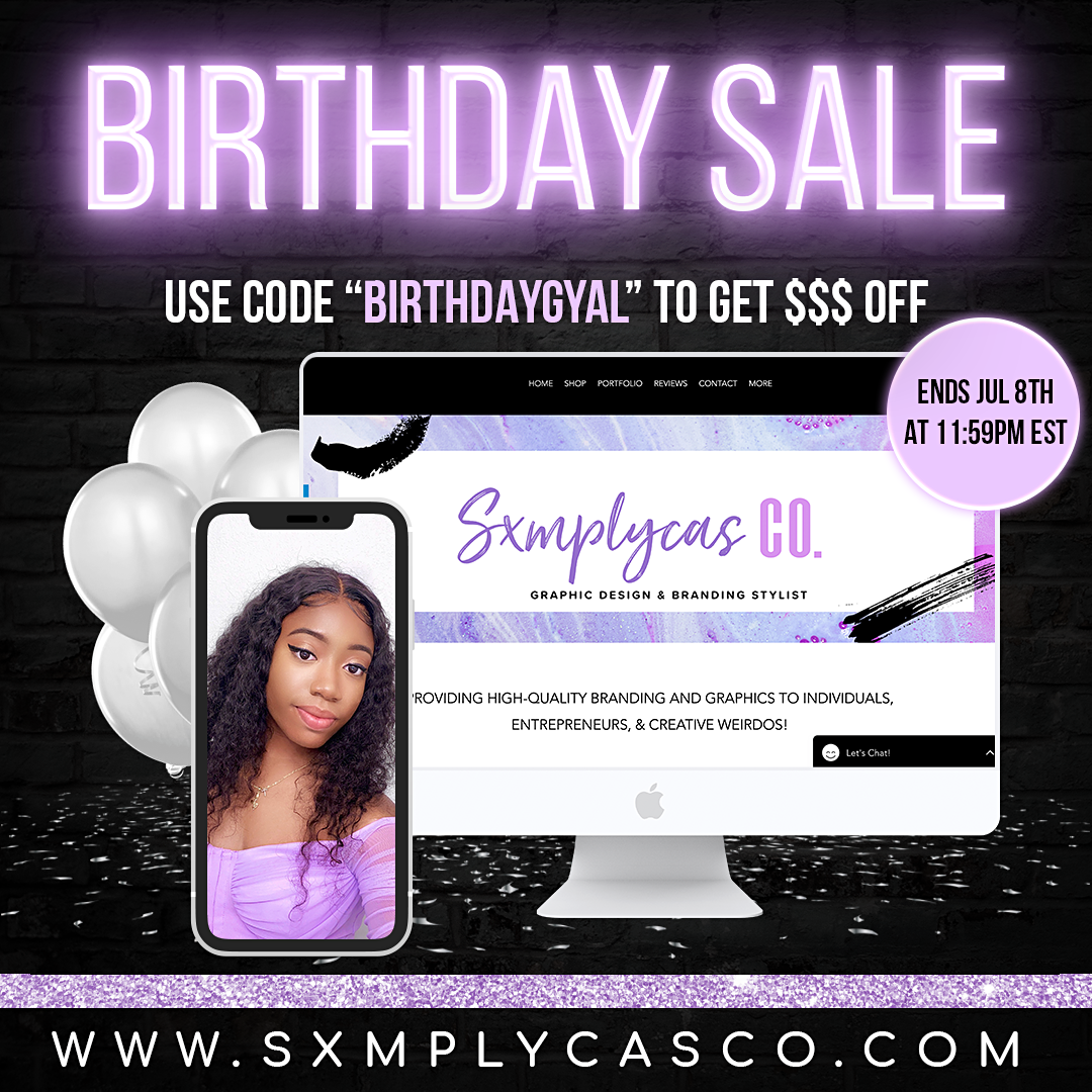 sxmplycas birthday sale flyer